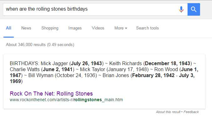 Rolling Stones Birthdays