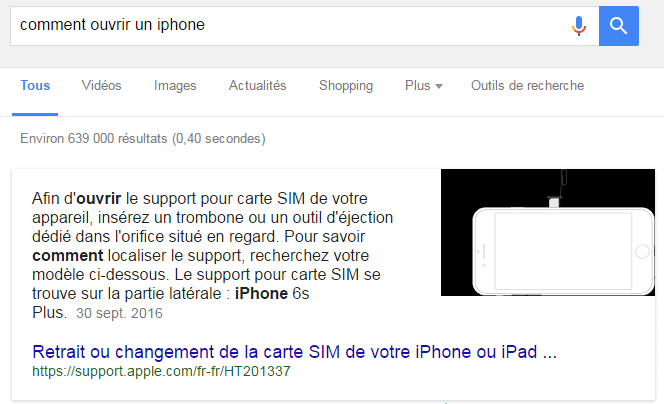 Featured snippet resultat iphone