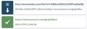 Redirection JS liée au tracking Baidu mais pas de redirection 301
