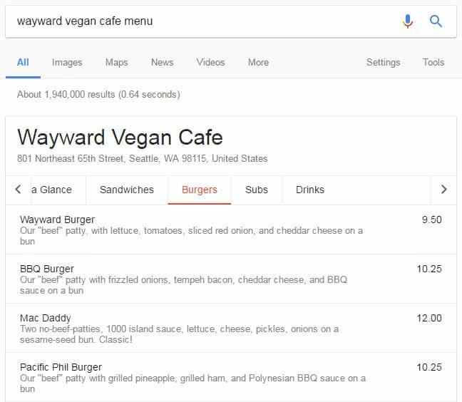 Menu de restaurant dans les résultats de Google