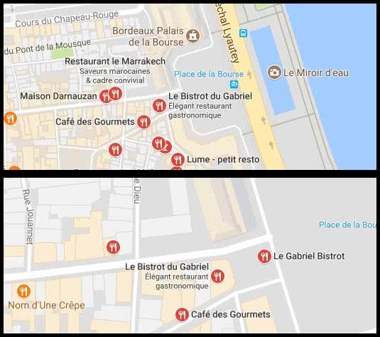 Google Possum - exemple de Bordeaux