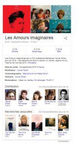 Knowledge graphe de Google - visuel film
