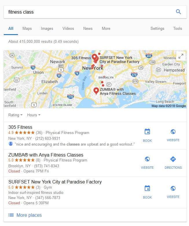 Reserve with Google Local Pack