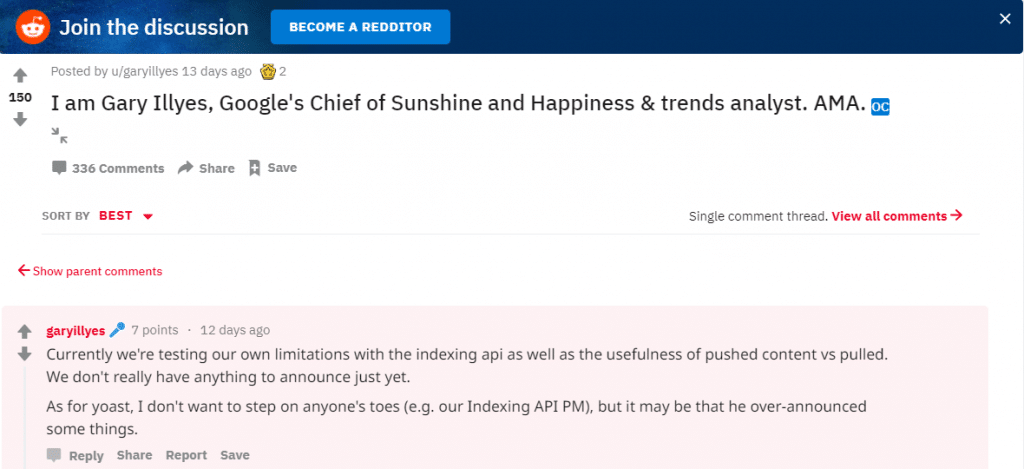 Reddit de Gary Illyes au sujet de l'API d'indexation Google