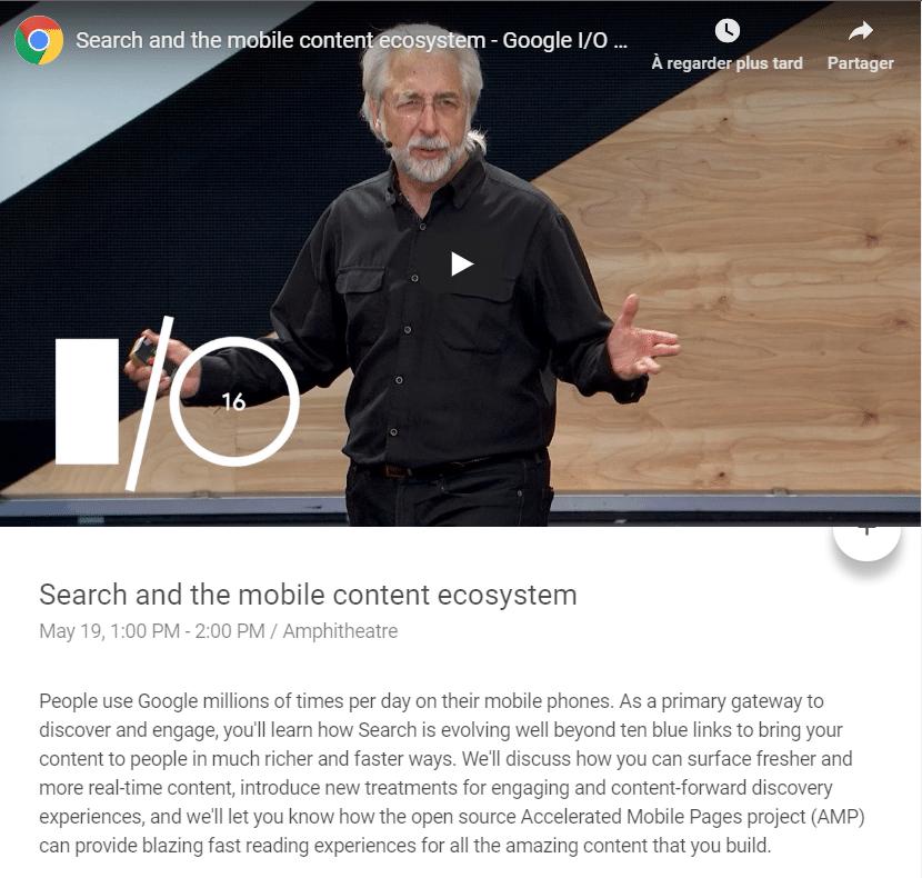 Vidéo Richard GINGRAS à la conférence Google I/O 2016