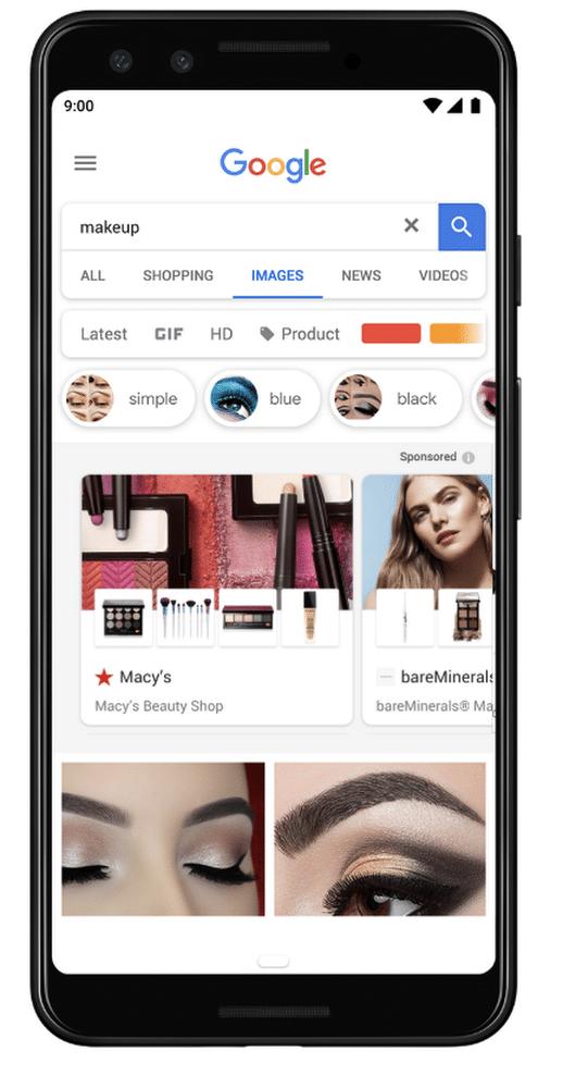 bandeau shopping ads dans Google Image